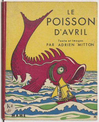 couverture de livre, conte pour enfant , poisson rouge sur fond jaune,