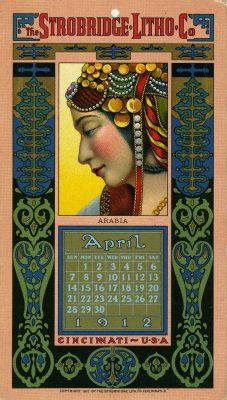 lithographie, calendrier avril 1912, portrait de femme de profil