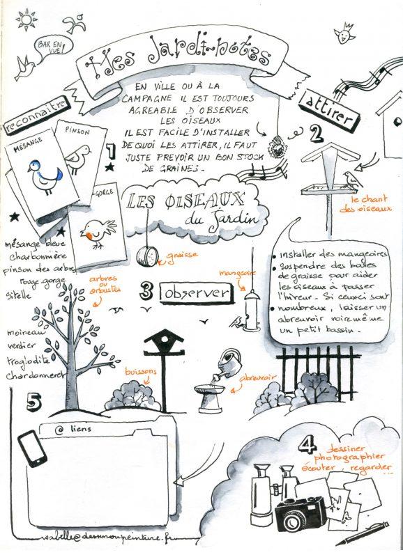 note graphique et visuelle sur les oiseaux du jardin