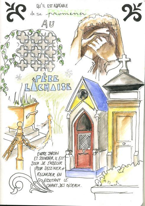 page illustrée, croquis, cimetière du Pere Lachaise