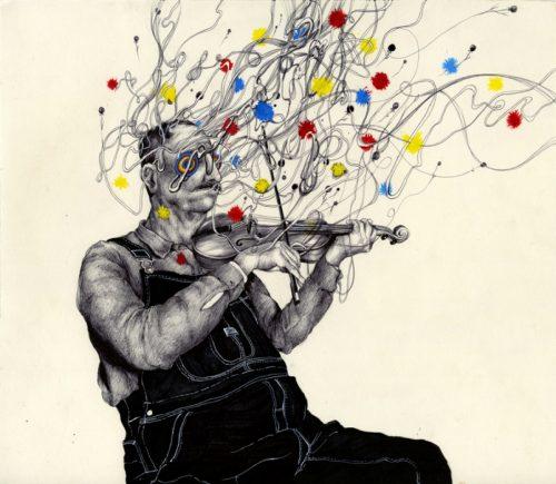 dessin d'un homme jouant du violon, les noter et la musique sont exprimé par des taches colorées dans un fouillis de fils